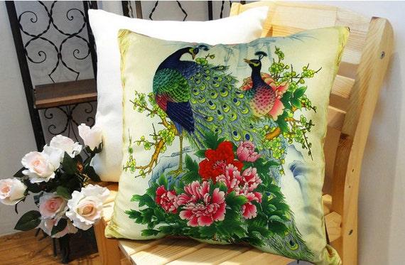 Modern decorative high quality Velvet fabric  throw pillow cases cushion covers 16'' / Animal/peacock/flower