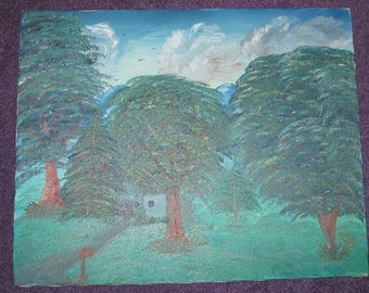 OIL PAINTING Of  A HOUSE In The Trees