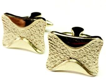 GILT Gold Vintage Cuff Links, Mens Vintage Costume Jewelry