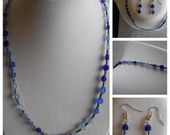 "17"" blue necklace with earrings"