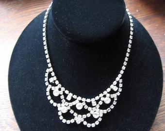 Vintage Rhinestone Glam Necklace