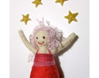 Made to order - Little red danser- Needle felted wool doll - Natural and ecofriendly