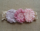 Infant/Baby/Toddler/Little Girl Handmade Headband / EASTER SPRING / Pink, Peach, Purple / Shabby Chiffon Flower, Lace / Photo Prop