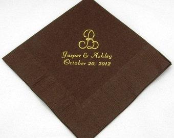 125 Personalized monogram luncheon napkins wedding favors bridal shower baby shower custom printed dinner napkins