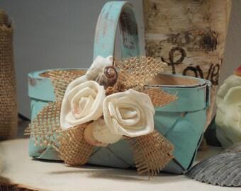 Romantic  Rustic Flower Girl Basket
