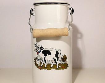 SALE Vintage Enamel White Milk Jug