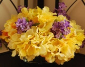 Yellow Hydrangea and Purple Lilac Silk Floral Arrangement