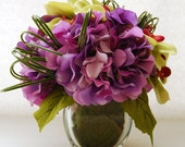 Lavender Purple Hydrangeas and Lemongrass green Orchids-Modern Silk Floral Arrangement