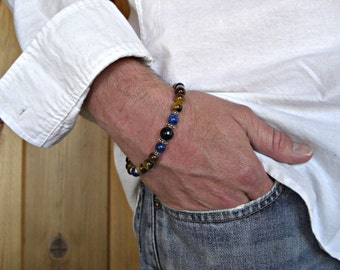 Tiger Eye, Lapis Lazuli, Faceted Black Lace Agate, Silver Accents Men's Bracelet, Gift for him