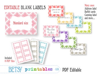 Editable labels or tags, digital labels or tags, pastel PDF labels or tags - INSTANT DOWNLOAD  038