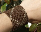 CHOCOLATE - BROWN THICK Bracelet //// Tribal, ethnic, artwork, handmade, handcraft, gemstone, macramé