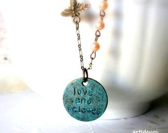 Love necklace Verdigris Antique style Necklace Romantic necklace Blue Vintage style Gift for her