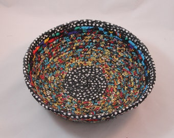multicolored coiled fabric basket