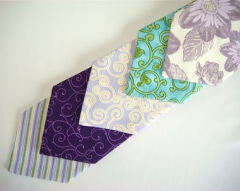 Necktie - (Boys Size) Spring Lavender and Green Collection - Perfect for Weddings, Family Photos