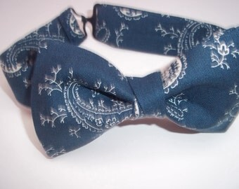 Blue Bandana Bow Tie-Bow Ties-Bow Tie for Boys-Boy's Bow Tie-Bow Ties for Kids-Blue Paisley Bow Tie