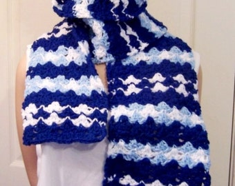 Cheerful Scarf: Dark & Pale Blue with White Stripes Hand Crocheted Scarf - M0082