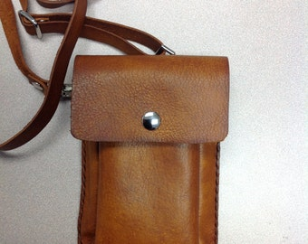 Leather cell phone case/mini purse with adjustable strap