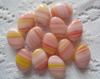 13  Peach Pink & Yellow Striped Czech Glass Flat Oval Beads  11mm x 16mm