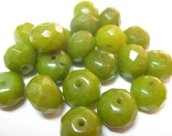 Jade Beads,  Light Olive Green, 10mm Round, Faceted, 20 pieces