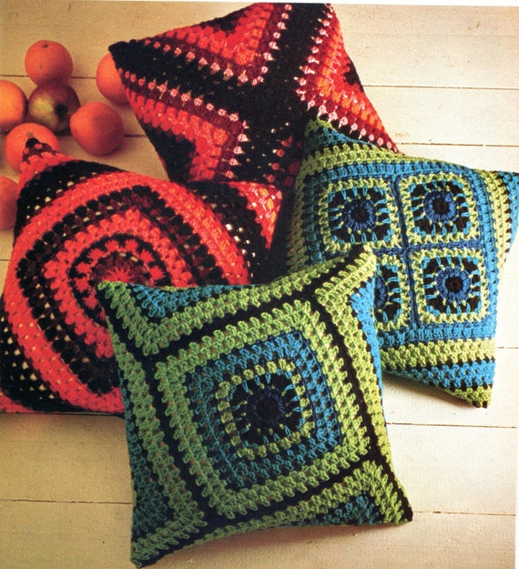 Crochet Stitches For Pillows : Two Fabulous Crochet Granny Square Pillow Patterns, Instant Download