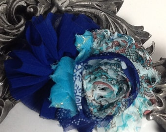 Royal blue, turquoise and whit hair clip. shabby chic flower hair clip hair accessory, flower hair clip