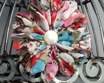 Multicolor hair clip: Flower hair clip hair accessory, floral print flower with faux pearl accent, girls hair clip, hair clip hair accessory