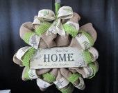 Wreath,burlap wreath,door decor,everyday decor,welcome wreath,home wreath,fern wreath