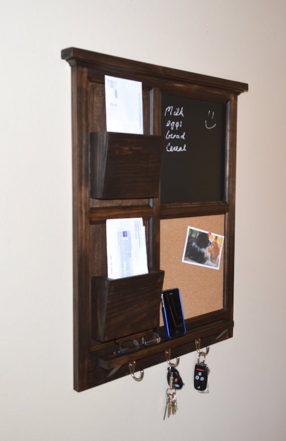 Items similar to walnut stained chalkboard cork board with two mail organizer letter holder - Wall mounted mail organizer and key rack ...