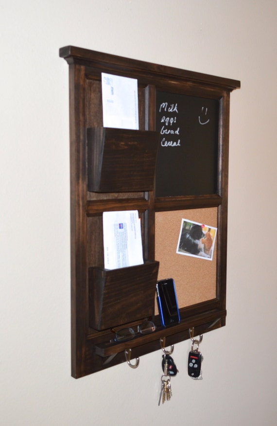 Items similar to walnut stained chalkboard cork board - Letter rack and key holder ...
