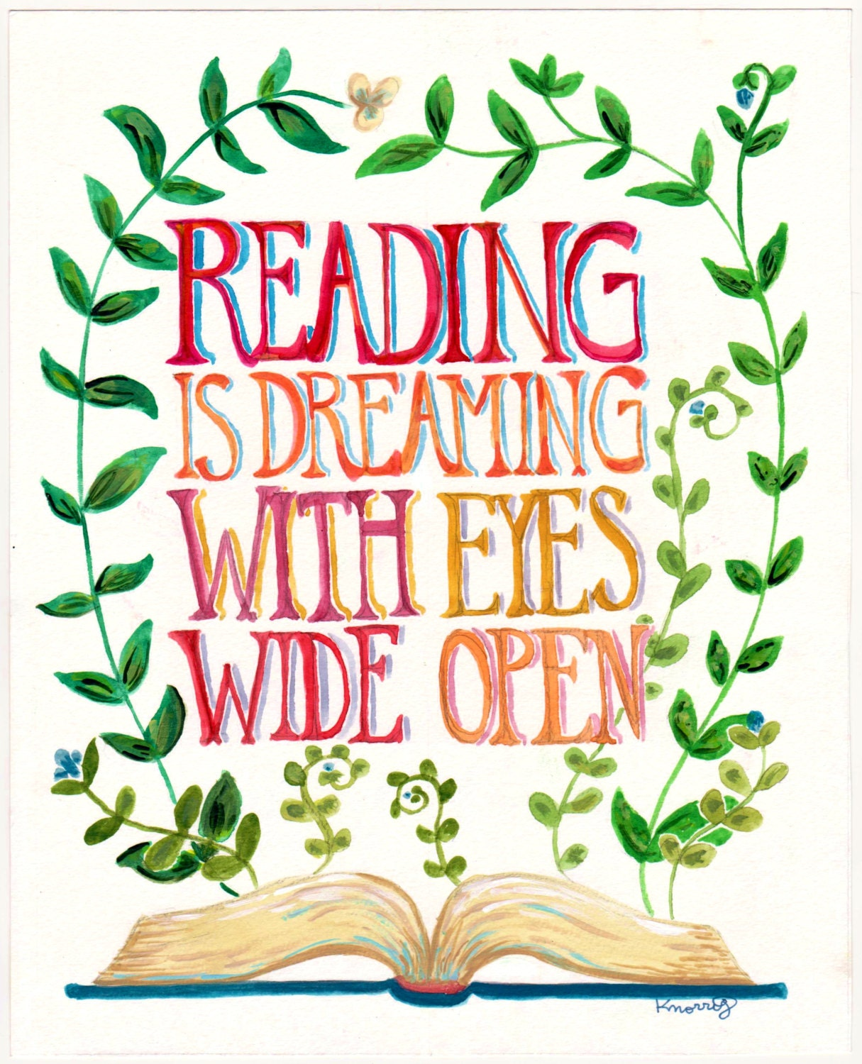 Reading Is Dreaming Quote Books Plants 8x10 Or 11x14