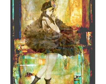 Vintage showgirl goddess, digital print, photomontage, vintage art print, burlesque print, fine art print, vintage ballerina, home decor
