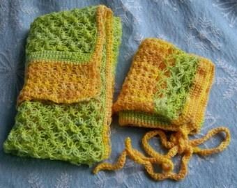 Lemon Lime Green golden yellow ooak Scarf matching full hat  Merino Wool Yarn Crochet Soft