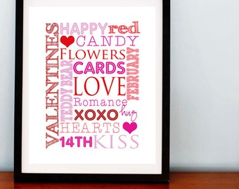 SALE.. Valentines Day Subway Art Print, Font Print, Happy Valentines Day - 8x10