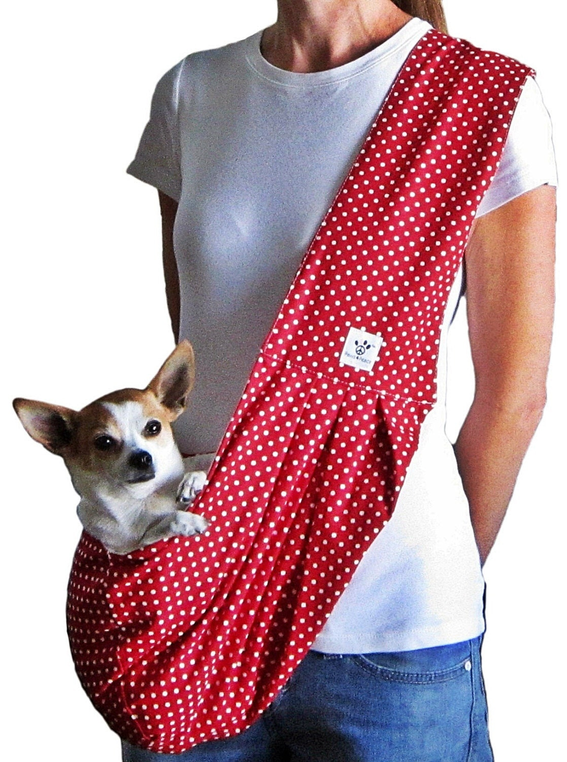 Dog sling red with white polka dots by paws4peacellc on etsy - Pattern for dog carrier sling ...