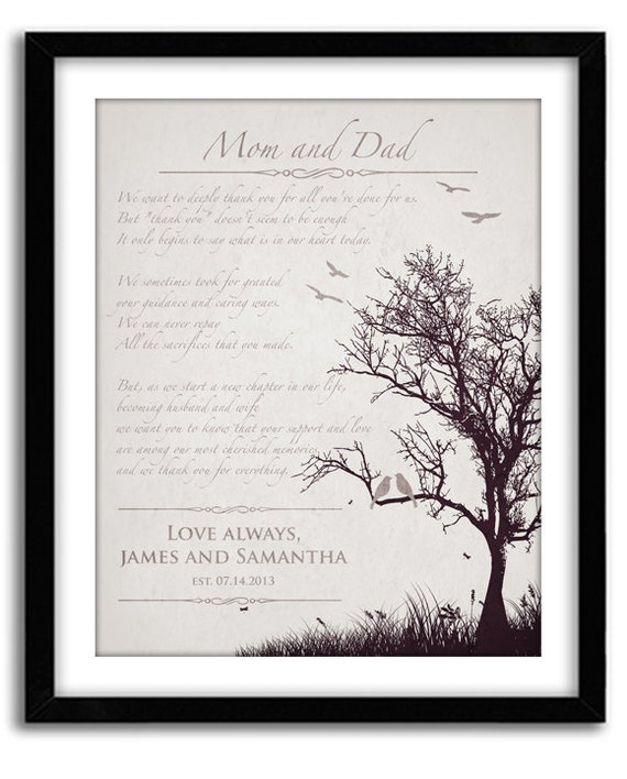 Personalized Wedding Gifts For Parents: Wedding Gift For Parents Personalized Thank You Gift For In