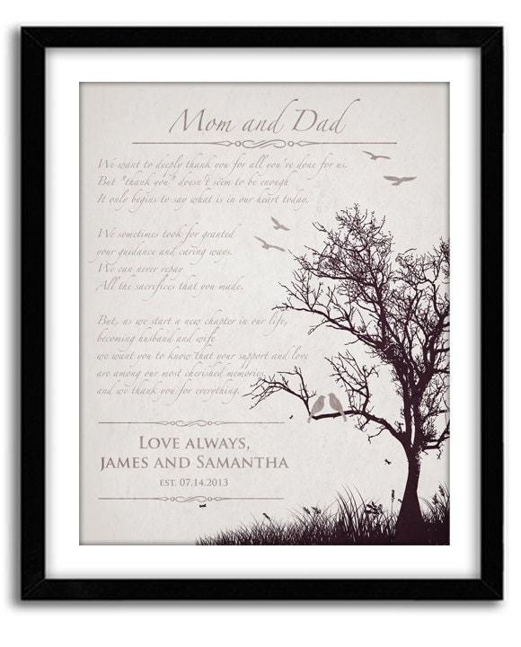Parent Wedding Gifts Thank You: Wedding Gift For Parents Personalized Thank You Gift For In