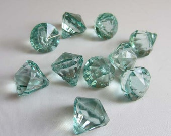 10 Acrylic Crystal Gem Pendant Beads - Teal Green - Tiny Small 12mm