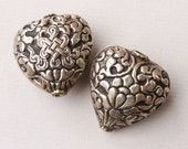 Ornate Silver Heart Beads