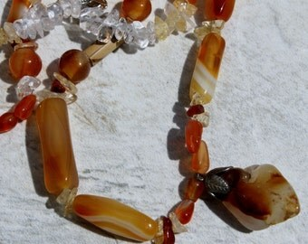 Carnelian and Crystal Necklace