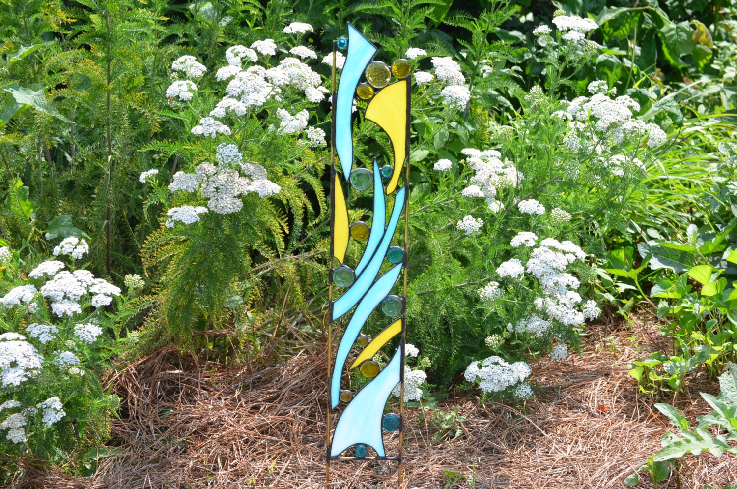 Yard ornament ideas - Stained Glass Garden Ornament Blue And Yellow Yard Art Rise Shine