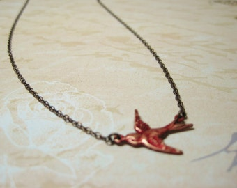 Red Bird Cardinal Necklace Flying Sparrow Redbird Pendant Nature Bird Jewelry Rustic Bird Bridal Wedding