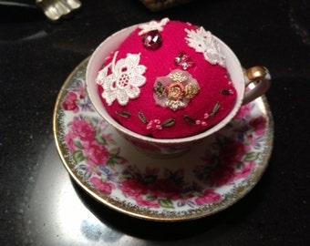 Tea cup and saucer pincushion