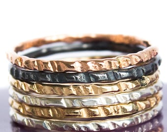 Two Tone Ring Set - Coin Edge hammered Stacking Ring Set
