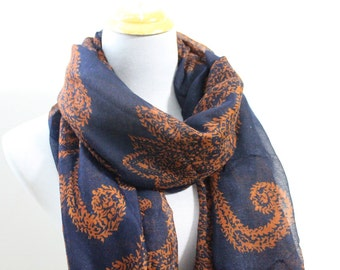 Golden Orange Paisley Scarf, Paisley Pattern Scarf, Gift For Mom, Moms Scarf, Christmas Gift, For Her, For Women, Girls Scarf, Paisley Print