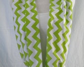 The Lime Green & White Chevron Infinity Scarf - Jersey Knit Cowl -