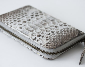 Natural - Genuine Python snakeskin zip around wallet - Small