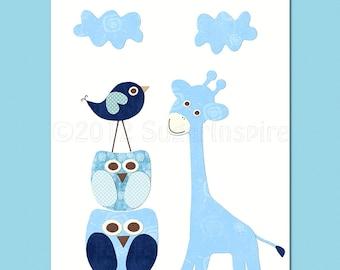 navy and blue  blue  Nursery Art,  nursery room decor,  8x10, kids room decor, nursery wall decor, navy and  blue