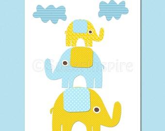 blue and yellow elephant  nursery art Print, 8x10, Kids Room Decor- elephant family, stacked elephants
