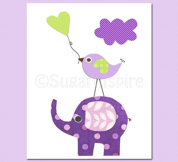 Purple And Green Elephant Nursery Art Print 8x10 Baby Boy