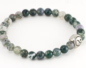 Moss Agate Stretch Bracelet With Yin Yang Bead